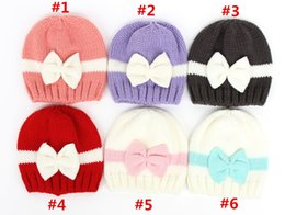 Wholesale Multi Color Baby Yarn - 100pcs Top Quality Newborn Hat Lovely Baby Girl Cotton Beanie With Bow Infant Soft Knitting match color Caps Baby Toddler Hat 6 colors