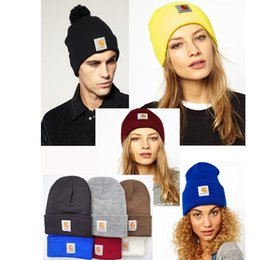 Wholesale Football Beanies For Men - 16 Color Unisex Spring Winter Carhartt Hats for Men women Knitted Wool Thicken Warm Beanie Knitting wool Sports football Caps 17*20 cm