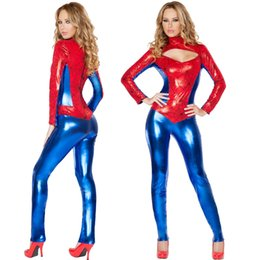 Wholesale Spiderman Fancy Dress Costume - SEXY SUPER HERO SPIDERMAN WOMAN FANCY DRESS CLUBWEAR PARTY COSTUME 5101 8-12