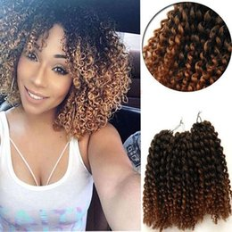 Wholesale Wholesale Women Synthetic Hair - New Freetress Jamaican Bounce Marlybob Kinky Curly Marley bob Hair Extensions 8Inch Havana Mambo Twist ombre grey Crochet for black women