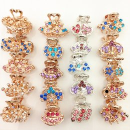 Wholesale 18k Gold China - colorful rhinestone small gripper hair claw clips crystal gold silver crown grips hairclips hairpins accessory for women