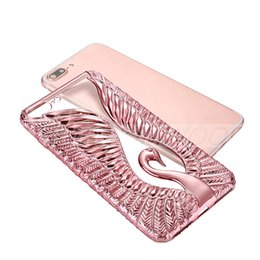 Wholesale iphone swan - Luxury Electroplated Phone Case For iPhone 7 6 6s Plus Case Cute Swan Ultrathin Phone Cover Back Cases Coque for iphone 7Plus