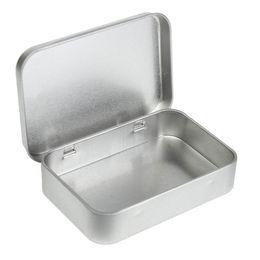 Wholesale Tin Card Boxes - Plain silver tin box 10cm x 6.7cm x 2cm, rectangle tea candy business card usb storage box case