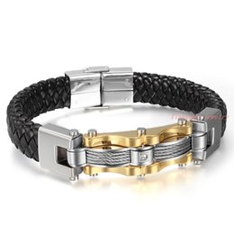 Wholesale Fine Leather Accessories - Wholesale New Fashion Fine Jewelry Men Punk Genuine Leather Silver Gold Stainless Steel Bracelets Vintage Bangles Male Accessories
