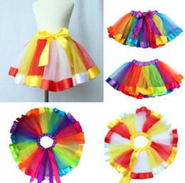 Wholesale Kids Ballet Clothes - Children Rainbow Tutu Skirt Kids Newborn Lace Princess Dresses Pettiskirt Ruffle Ballet Dancewear Skirt Holloween Clothing 100pcs OOA3599