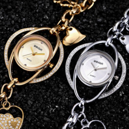 Wholesale Heart Ceramic Watch - WEIQIN Crystal Silver Bangle Watch Women Heart Pendant Bracelet Watches Ladies Fashion Rhinestone Analog Quartz-watch relojes