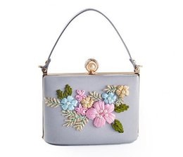 Wholesale Embroidered Flower Bag - New ladies Cosmetic Bags handbags flowers chain small square bag Purses falt type cosmetic gift purse