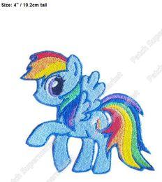 "Wholesale Rainbow Baby Costume - 4"" Blue Horse Baby Pony Rainbow Iron On Patches Cartoon TV Movie Embroidered Emblem Costume Cosplay halloween kid girl dress diy"