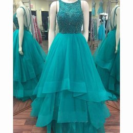 Wholesale Yellow Turquoise Quinceanera Dresses - Turquoise Green Sweet 16 Dresses 2016 Beaded Top Crew Neck Backless Quinceanera Gowns Tulle Long Elegant Girl Birthday Party Dress
