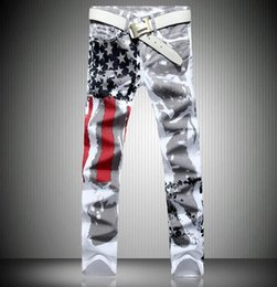 Wholesale Painted White Jeans - 2016 new jogging American flag painted jeans brand jeans men straight men's casual pants men's denim trousers micro-bomb 28-42