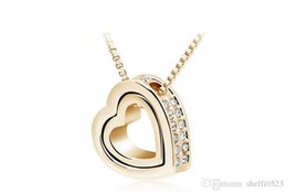 Wholesale Gold Eternal Love Pendant - Eternal Honey Heart Necklace Jewelry Fashion Crystal Cheap Price From Factory Direct Sales Necklace For Women 10pcs Sales B117