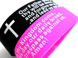 Mens cristiane croci online-100pcs Inspirational Inglese Lords Prayer Christian Mens DONNA Moda Croce bracciali in silicone all'ingrosso polsino bracciali Lotti
