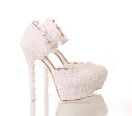 Wholesale Sexy Prom Shoes - Bridal White Lace Wedding Shoes Handmade Shoes Ankle Strap 14CM Sexy High Heels Prom Dress Shoes for Party