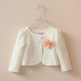 Wholesale White Shawls For Girls - New autumn cotton flower white pink shawl kid short coat for girl fashion long sleeve jackets with brooch children clothes