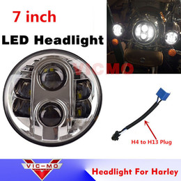 "Wholesale Dual Motorcycle Headlight - DOT Emark 80W Dual Low High Beam Black Chrome 7"" round 40w led headlight for jk tj cj Wrangler motorcycle"