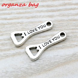 Wholesale Sliding Opener - MIC 100pcs Ancient silver zinc alloy Single-sided I Love you Bottle Opener Charms Pendants 10x 27mm DIY Jewelry A-108