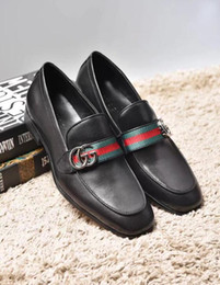 Wholesale Leather Prom Heels - Men genuine leather shoes slip on luxury elegant black dress loafers wedding and prom shoes big size 45