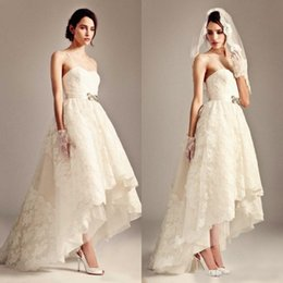 Wholesale Unique Country - 2016 Unique Hi Low Wedding Dress Country Style Short Lace Appliqued Spaghetti Straps Casual Garden Bridal Gowns with Beaded Belt