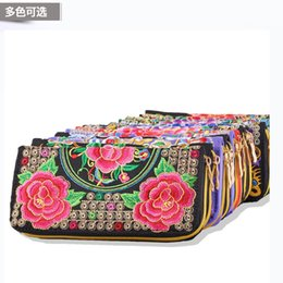 Wholesale Embroidery Wallets - Hot New Embroidered Wallet Purse Handmade Ethnic Flowers Embroidery Women Long Wallet Day Clutch HandBag