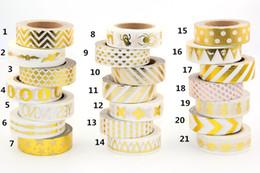 Wholesale Foil Japanese - Wholesale-Hot sales!! 10m Gold Foil decorative scotch tape dot, pineapple,heart, strip masking Christmas Japanese washi tape