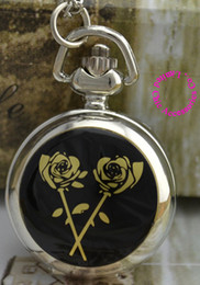 Wholesale Flowers Sketches - wholesale price good quality silver gold black rose flower sketch drawing pocket watch necklace hour clock chain