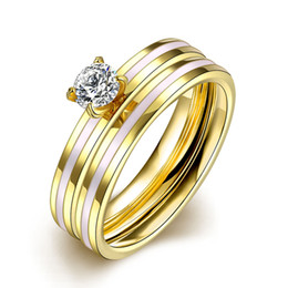 Wholesale 24k Gold Wedding Rings Wholesale - Lady 2PCS 1SET Titanium Steel 24k Gold Plated Rings Double Layer Crystal CZ Zirconia Jewelry US Size 6-9 Marriage Engagement Ring Women Gift