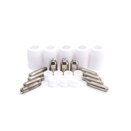 Wholesale Plasma Cutter Tips - 40pcs SG51 Consumables tip electrodes gas ring porcelain shield cup for 60a inverter DC Air Plasma Cutter SG51 cutting torch gun