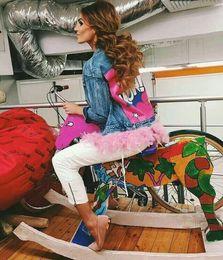 Wholesale Short Feathered Jacket - New Fashion Denim Jacket Detachable Feather Bottom Lapel Neck Long Sleeve Button Print Cartoon WOW Outerwear Women Autumn Casual Short Coat