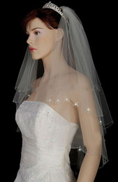 Wholesale Tulle For Cheap - Bling Wedding Veils with Crystal for Bride High Quality Soft Tulle Bridal Veil with Crystals Short Layered Bridal Vail Cheap