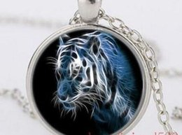 Wholesale Tiger Necklaces For Men - New White Tiger Cabochon Glass silver necklace for women men Jewelry bling jewelry gold filled snake chains australia