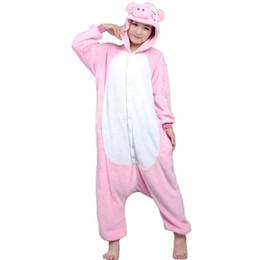 Wholesale Pig Costume Adult - Adults pink pig Flannel Pajamas All In One Pyjama Suits Cosplay Costumes Adult Garment Cute Pig Cartoon Animal Onesies Pajamas Jumpsuit