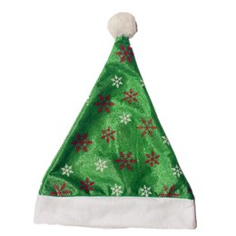 Wholesale Snow Supplies - 15Pcs  Lot Christmas Hats With Snow Green Caps For Adult And Kids Xmas Decor Wholesale New Year 'S Gifts Home Party Supplies