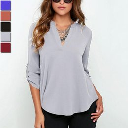 Wholesale New Fashion Sexy Ladies Clothing - Summer Chiffon Blouse Female Sexy V-neck Long Sleeve Loose Casual Ladies Shirts 2018 New Women Office Tops Blouses Clothes