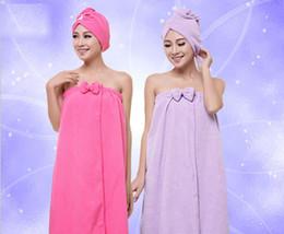 Wholesale Breast Shower - Home Textiles Bath Towel polyester superfine fiber variety solid colors Bow-tie breast bath towel shower skirt dry hair hat set wholesale