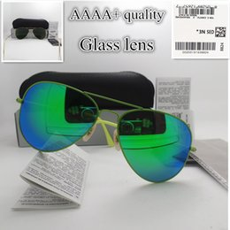 Wholesale Vintage Colorful Box - AAAA+ quality Glass lens Colorful frame Fashion Men and Women Coating Sunglasses Brand Designer Vintage Sport Pilot Sun glasses With box