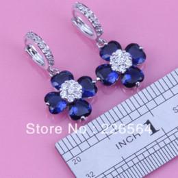 Wholesale Royal Blue Flower Earrings - Wholesale & Retail Unusual White Gold Plated Royal Blue & White Flower-Shaped Fashion Drop Earrings E473