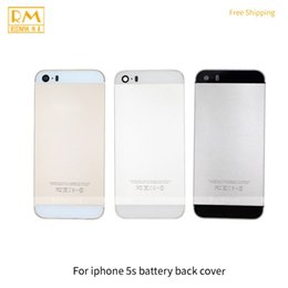 Wholesale Iphone Color Battery Case - 1pcs Grade A For iphone 5S Battery Cover Back Housing Full Back Cover Door Rear Case White Black Gold Color Replacement Cellphone Parts