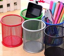 Wholesale Office Supplies Desk Accessories - 2pcs lot free shipping Metal pen holder Grid Pen container student stationery Desk Accessories Organizer School Office Supplies Papelaria