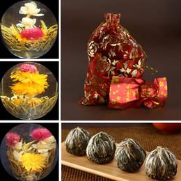 chá chinês barato Desconto New 10 pcs Amarrado Handmade Florescendo Jasmim Floração Erva Bola De Chá Verde