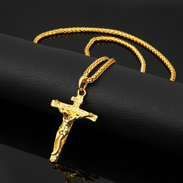 Wholesale Wholesale Crucifix Pendants - Hot Cross Crucifix Jesus Pendant Necklace 18k Gold plated Hip Hop Necklace Stainless Steel Men Chain Christian Jewelry Gifts Vintage