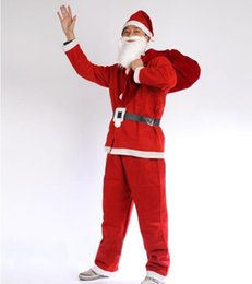 red woven belt Australia - Non-woven Santa Claus clothes 5pcs in a set suit (hat Beard clothes pants belt) for adult man free shipping CT05