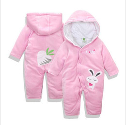 Wholesale Snowsuit For Baby Boys - Baby Girls Clothes cute Animal RabbitBaby Rompers Costume Winter Fleece Clothes For Boys Warm Snowsuit Jumpsuit