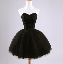 Wholesale Crystals Cocktail Dresses - Ball Gown Little Black Short Prom Homecoming Dresses 2016 Cheap Sweetheart Beaded Lace Ruched Tulle Corset Cocktail Party Gowns under 100