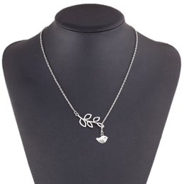 Wholesale Necklace Leaf Vintage Owls - Vintage Double Layer Pendant Necklace Silver Women Owl and Leaf Design Chain Necklace Lobster Clasp Choker for women
