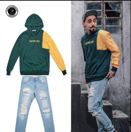 Wholesale Trendy Long Jackets - American retro streets Hooded Sweater color couple loose hooded casual blouse stitching trendy Hoodie Jacket