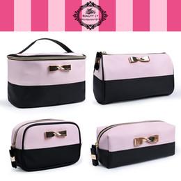 Wholesale Makeup Bag Bow - landy house victoria's Fashion Women Cosmetic Bag Travel Makeup Make up Organizer Box Beauty Bow Large Capacity Women Sorage Wash Bags