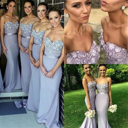 Wholesale Purple Junior Bridesmaids Dresses - 2015 Elegant Lilac Long Bridesmaid Dress Mermaid Sweetheart Appliques Beaded Maid of Honor Dress Vestido Para Madrinha De Casamento 2016