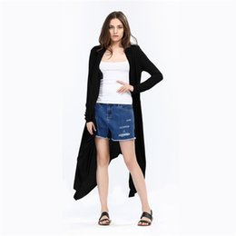Wholesale New Women Front Open Cardigan - 2017 New Autumn Winter Women Long Sleeve Solid Knitted Cardigan Elegant Irregualr Cardigan Women Long Poncho Femme Plus Size DHL MDL171008