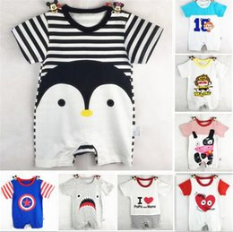 Wholesale Toddler Animal Onesies - Wholesale Boys Girls Baby Rompers Summer Short Sleeve Baby Onesies Cartoon Animals Toddler Jumpsuits Newborn Clothing Infant Clothes