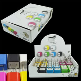 Wholesale Display Iphone Home - mini usb square home charger for iphone 1000mA with display box & colorful 24pcs in a box charge for any smart phone mp3 mp4
